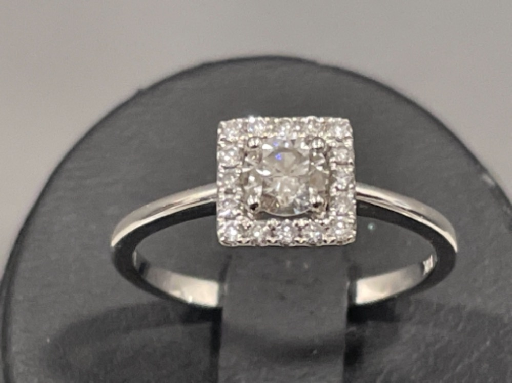 18ct white gold diamond cluster ring. Size M 2.1g - Image 3 of 3