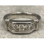 18ct white gold Diamond ring. Set with 5 brilliant cut diamonds. Approx 1ct, size N1/2 and 7.2g