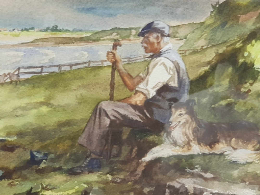 Gilt framed watercolour the shepherd and his dog, Bamburgh castle signed and dated bottom left by - Image 3 of 3