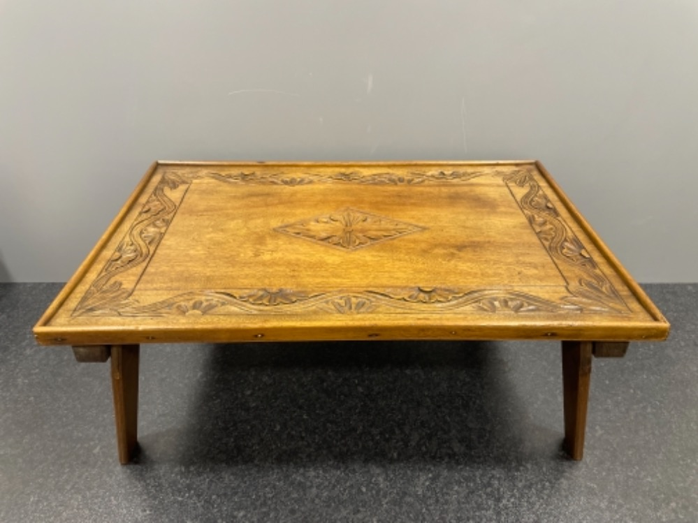 Beautiful carved Oak tray - Image 2 of 2
