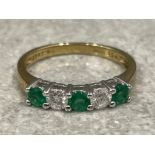 Ladies 18ct gold Emerald and Diamond ring. Size K 1.65g