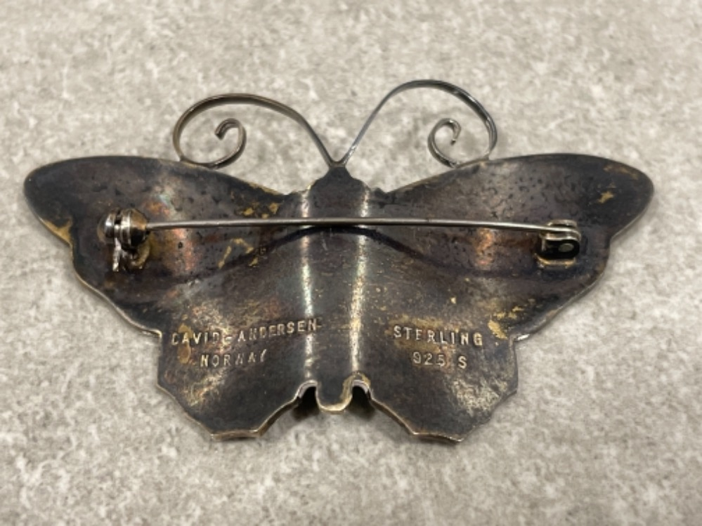 Large David Andersen sterling silver enamel Butterfly brooch. Very good vintage condition 6cms - Image 3 of 4
