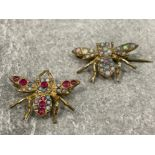 Pair of 9ct gold opal and gem set bug fly brooches. Vintage/Antique both in good condition