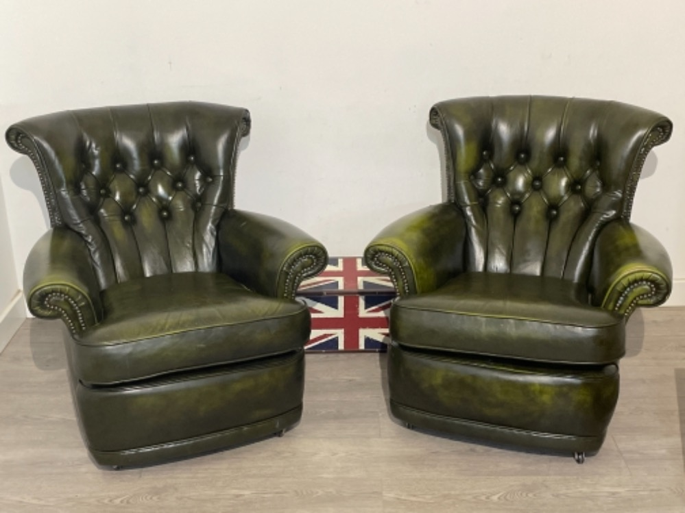 Pair of Green leather button back chesterfield armchairs in good clean condition