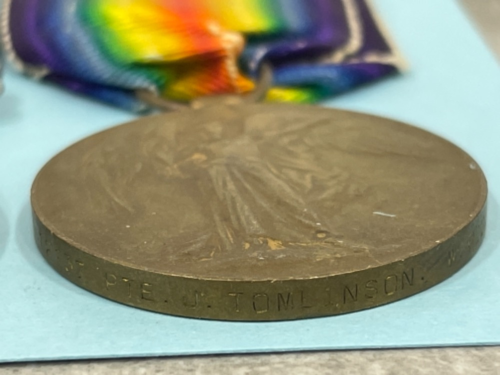 Medals WWI pair, Silver and victory medals awarded to Pte J. Tomlinson W. Riding Reg 12137 - Image 4 of 4