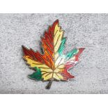 Vintage Canadian sterling silver and enamel maple leaf brooch pin, 10.2g