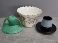 Early 20th century match holder/Striker together with art nouveau Bretby candlestick and Minton