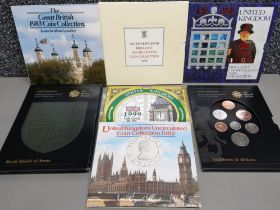 7 Royal Mint UK uncirculated coin sets includes 1982, 1983, 1986, 1994, 1999, 2008 emblems and