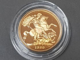 UK gold 1980 proof sovereign, with original case
