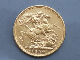 22ct gold 1892 full sovereign coin with Melbourne (M) mint marks