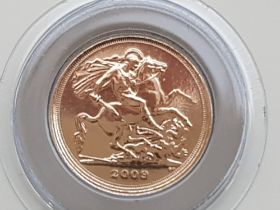 Uk gold 2009 quarter sovereign, brilliant condition uncirculated in original packaging