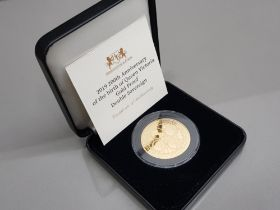 22ct Gold alderney 2019 200th anniversary of birth of queen Victoria proof double sovereign coin,