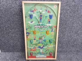Vintage electric Poosh-M-up super bagatelle game, in glass display case with 11 game balls