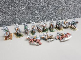 13 metal hand painted wargame minatures, medieval knights