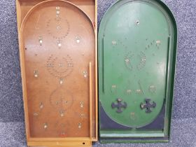 2 vintage wooden bagatelle game boards, 1 by Chad Valley