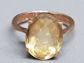 A 9ct rose gold and citrine antique ring size I 2.79g gross.