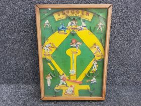 """Vintage Poosh-M-up baseball game """"Slugger"""" in display case with game balls, Northwestern products"""