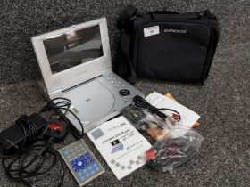 Daewoo Portable DVD player with remote and other accessories, in original protective bag