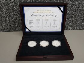 The Queen Mother birthdays 3 coin silver proof £5 set, in original case with certificate of