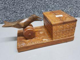 Vintage cigarette box dispenser, hand carved with mechanical bird movement