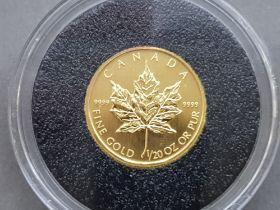 1/20th OZ pure gold coin, Canada Maple leaf