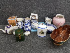 Box of blue & white China mainly ringtons also includes masons, wedgwood etc