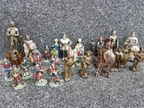 Selection of minatures including highland warriors & bagpipe players by Sculptures UK also