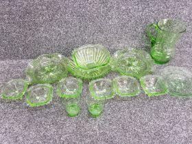 14 pieces of green glassware, inc large pitcher jug, bowls, 2 x beakers etc