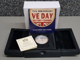 5 pounds silver proof coin, celebrating the 75th anniversary of VE Day with original box and