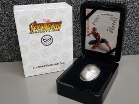 Marvel Avengers 2OZ .999 fine silver 5 Dollars collectible coin, spiderman, with original case