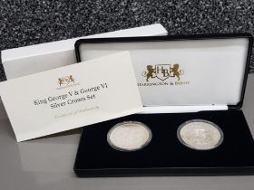 UK 1935-37 King George V & George VI two coin silver crown set, with original case and certificate