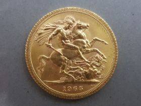 22ct gold 1965 full sovereign coin