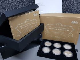 Royal Mint the 100th anniversary of the first world war silver proof six coin £5 set, with