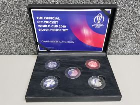 The official Icc cricket world cup 2019 silver proof 50p set, isle of Man uncirculated, with