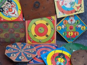 Crate of 12 mixed vintage ring toss games including Chad Valley, Kay-London and H.J.Gray & sons