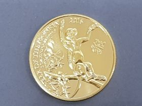 2016 UK 1OZ pure gold coin, Chinese lunar year, the year of the monkey, uncirculated