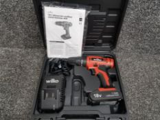 Wilko 18v cordless combi hammer drill, in full working condition, in original case