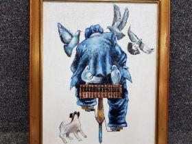 """An oil painting after Alexander Millar """"Pigeon Man"""" 52.5 x 40.5cm."""
