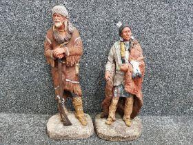 Pair of Daniel Monfort original native american hydrostone sculptures - peace pipe & hunter,