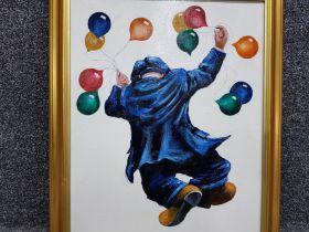 """An oil painting after Alexander Millar """"Balloon Man"""" 39.5 x 29cm."""