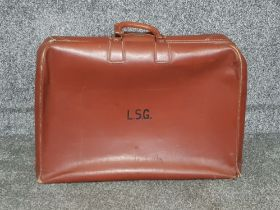 1950s heavy leather suitcase with working zip