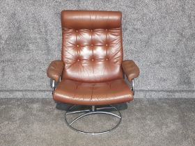 Brown leather Retro swivel reclining armchair
