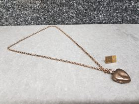 9ct gold chain and heart pendant along with Diamond gold tiepin (6.4g)