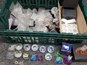 Box containing a large Quantity of crystal drops & crystal glass paperweights ( rolls Royce,