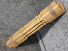 Bundle of solid oak stair spindles, 11 in total, 10x 90cm plus 2x cut