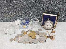 German coinage, pocket volt meter and cufflinks