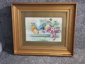 Still life Painting of fruits by T. Wilson in gilt frame
