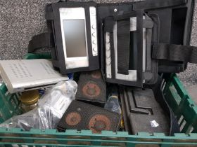 Box of miscellaneous electric items including in car DVD screens, Panasonic camcorder, pair of