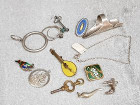 Selection of silver, metal & enamelled pieces