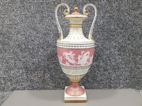 A 20th century Meissen style twin handles vase and cover of neo classical design with enamel and